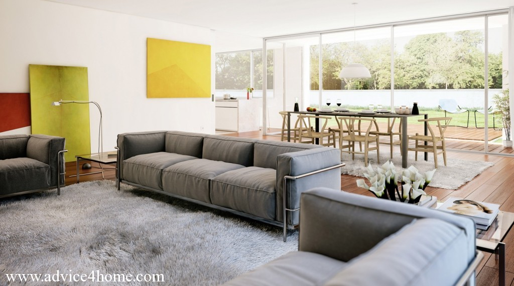 Open Plan Living Room Dark Gray Sofa And Latest Dining Table