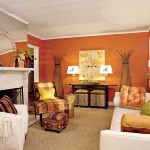 Orange Color Scheme For Living Room White Furniture And Fireplace