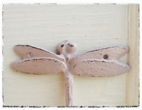 Pale Lilac Dragonfly Wall Hook Cast Iron Shabby Chic Hanger Kitchen