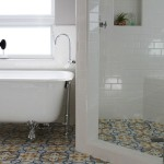 Patterned Floor Tiles White Subway Wall Bathroom