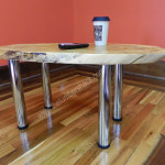 Polished Chrome Tall Metal Coffee Table Legs Round Bench