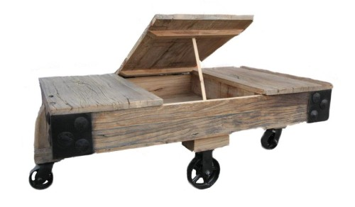 Reclaimed Pine Coffee Table Caster Wheels Ebay