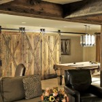 Reclaimed Wood Flagstone Backwall And Built Cabinets