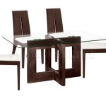 Rectangular Glass Top Modern Dining Table Wooden Base