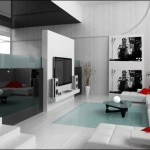 Red And White For Living Room Interior Design