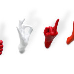 Red And White Hand Shaped Wall Hooks Kitchen