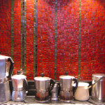 Red Kitchen Mosaic Design Mixed Glass Tiles Stanley Mosaics