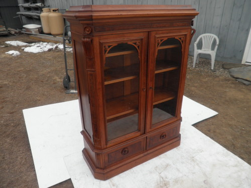Renaissance Revival Walnut Bookcase Nice Diminutive Size
