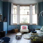 Rota Blue Living Room Fireplace And Wooden Floors Bay Window