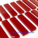 Ruby Red Glass Rectangles Tiles Tesserae Mosaic Stained