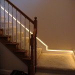 Safety Lighting Built Some Stair Molding Receive Rope