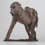 Sculpture Olive Baboon And Baby Small Bronze Monkey Sculptures