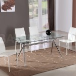 Set Modern Glass Dining Table And Four White Chairs