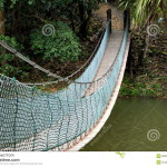 Simple Suspension Bridge Over Lake Sabah Malaysia Taken