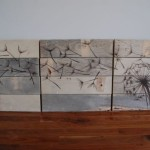 Slab Wood Several Drawing Your Own Silhouettes Atop Fresh