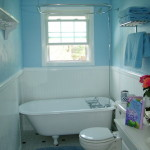 Small Blue White Bathroom Clawfoot Tub Designs