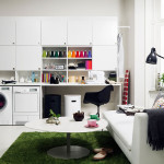 Small Laundry Room Storage System Foto Image