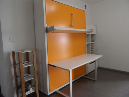 Space Saving Wallbed Vertical Double Office Table And Bookshelf