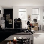 Spacious Black And White Teenager Bedroom Featuring Clever Wall