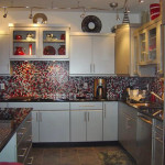 Spectralight Dragonfire Backsplash Right View Mosaic Tile Glass