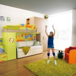 Sporty Room Decor Green Bunk Beds And White Sofa