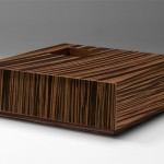 Square Coffee Table Drawer Maccassar Ebony Modern Tables