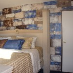 Stacked Stone Accent Wall Eclectic Bedroom