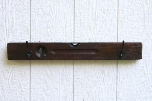 Stanley Brown Level Wall Coat Rack Vintage Handmade