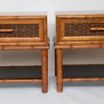 Stellar Walnut Bamboo Cane And Glass Bedside Tables Stdibs