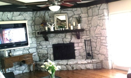 Stone Fireplace Makeover How Use Paint But Keep Looking