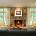 Stone Fireplace Style How Decorate Living Room