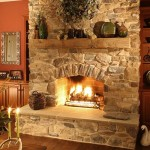 Stone Fireplace Surround For Rustic Country Inn Look