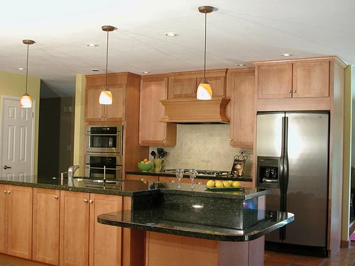 Straight One Wall Kitchen Island Design