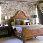 Style Rustic Bedroom Stone Wall