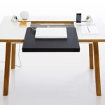Stylish Laptop Desk Features Neat Cable Management And Storage
