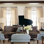 Stylish Trendy Colors Living Room Decorating Around Grand Piano