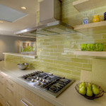 Subway Tile Kitchen Backsplash Green Ceramic