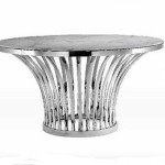 Table Modern Natural Marble Dining Stainless Steel Base