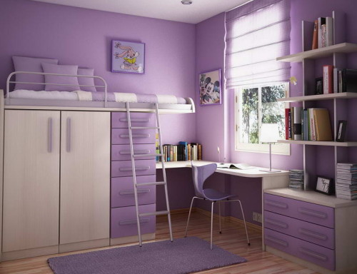 Teenage Girls Bedroom Painting Idea Purple Theme