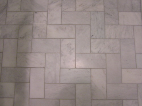 The Bathroom Floor Marble Subway Tile Installed Straight