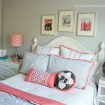 The Pretty Coral And Gray Bedding That Abigail Selected For Her Room
