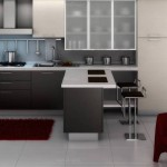 This Modern Gray Kitchen Cabinets White Floor And Red Rug Design Ideas