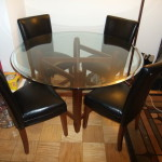 Transitional Modern Glass Wood Dining Table East Bronx