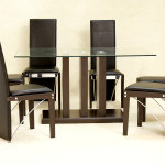 Troy Large Dining Table Clear Glass Black Chairs
