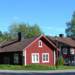 Typical Traditional Red Swedish Houses Stockholm