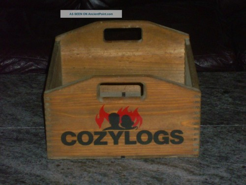 Ultra Rare Vintage Cozy Logs Fire Wood Dovetailed Wooden Box Beer Soda