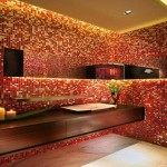 Unique Bathroom Tile Design Red Glass Livbar