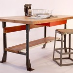 Upcycled Industrial Style Work Table Desk Kitchen Island Via