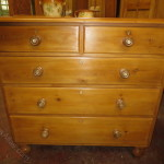 Victorian Pine Two Over Three Chest Drawers Having Mother Pearl