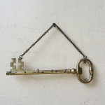 Vintage Wall Hook Key Holder Brass Skeleton